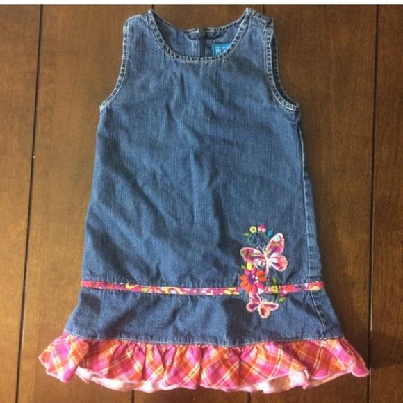 The children's place butterfly Jean jumper dress